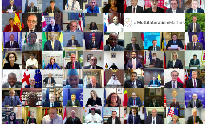 Compilation of pictures of each speaker at the Ministerial Meeting of the Alliance for Multilateralism on September 25, 2020